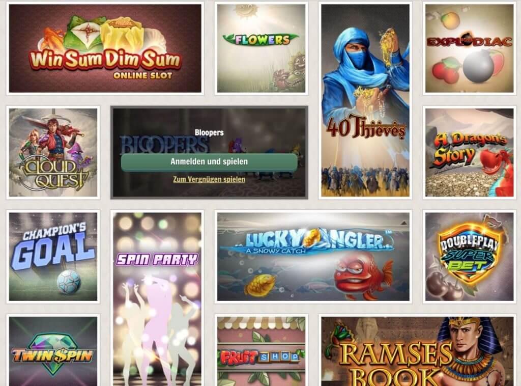 Verschiedene Spielautomaten bei Cherry Casino mit unter anderem 40 Thieves von Bally Wulff