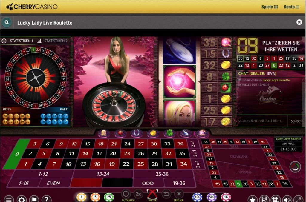 Lucky Ladys Roulette im Cherry Live Casino